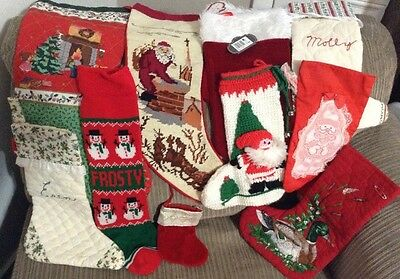 LOT 10 FABRIC CLOTH CHRISTMAS  STOCKINGS  Collection Vintage New