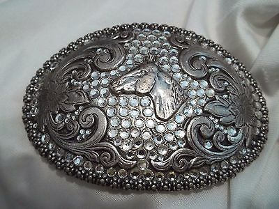 Nocona Rodeo Belt Buckle Large Oval Silver Tone With Horse Head & Rhinestones