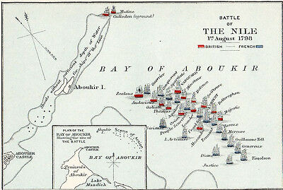 Map of Battle of The Nile  Original Printed 1907