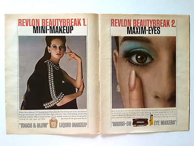 Revlon 1967 vintage magazine ad full page 10x13 lot of 2 salon cosmetics makeup