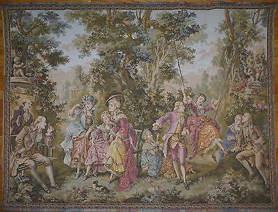 """Large Antique / vintage French Wall Hanging Tapestry 67"""" x 51"""" Scene galante"""