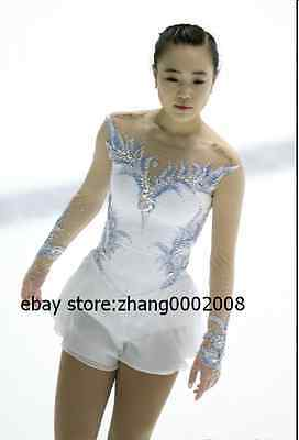 Stylish Ice skating dress.white Competition Figure Skating dress.Twirling custom