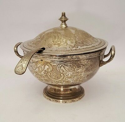 Antique Silver Plated SOUP TUREEN with LID and SPOON. Engraved decoration