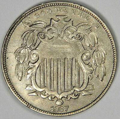 1867 Shield Nickel With Rays Sharp Au About Uncirculated Monster Bold Overdate!