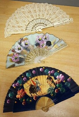 3 x Very Pretty Vintage Fans Painted with Spanish Theme/Floral