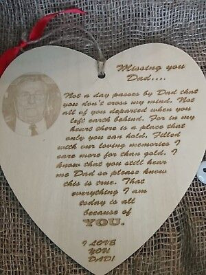 Beautiful Personalised Laser Engraved In Memory of Dad with Photograph