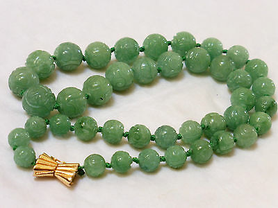 Chinese Vintage Carved Shu Green Jade Beads Sterling Clasp Necklace, 91 Grams