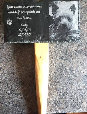 Personalised Engraved Pet Memorial Slate, Includes photo. Remembrance, Grave