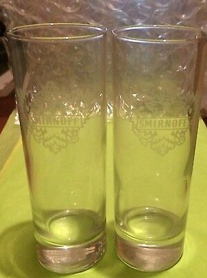 Smirnoff Vodka Etched Tall and Slim Highball Glasses