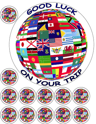 Flags of the world globe round edible cake topper wafer icing flag globe world map travel 75 12 x 15 premium edible icing cake gumiabroncs Gallery