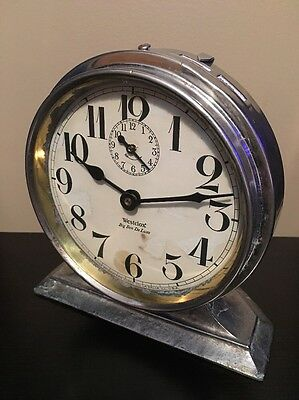 *Antique 1927-32 Westclox Big Ben Deluxe Style 2 Nickel Windup Alarm Clock*