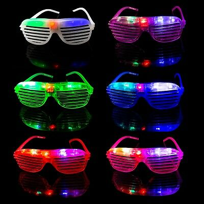 25 Flashing LED Shutter Glasses Light Up Rave Slotted Party Glow Shades Fun UK