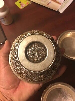 Tibetan  Sterling Silver Cups  Hand Carved With Tibetan Symbols $500 Per Cup