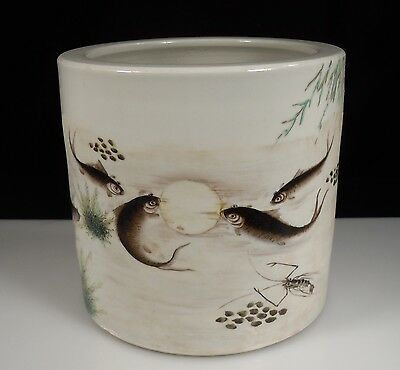 Chinese Qianjiang Porcelain Brush Holder Pot