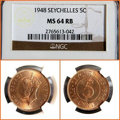 Seychelles 1948 5 Cents Ngc Ms-64 Rb