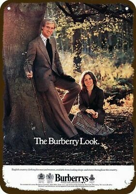 1977 BURBERRYS English Clothes Vintage Look REPLICA METAL SIGN THE BURBERRY LOOK