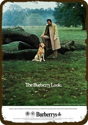 1977 BURBERRYS English Clothes Vintage Look REPLICA METAL SIGN BURBERRY LOOK Dog