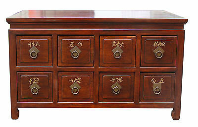 Chinese antique 8 drawers low cabinet