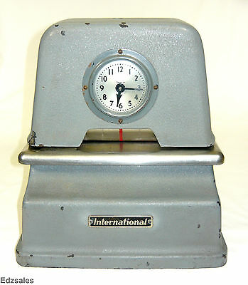 Vintage International Simplex Telechron Time Clock stamp recorder
