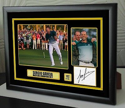 """Sergio Garcia Masters 2017 Golf Framed Canvas Tribute Signed """"Great Gift"""""""