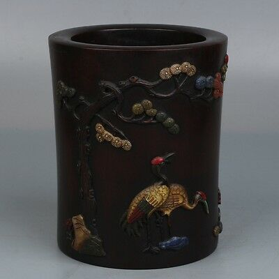 Chinese Exquisite Hand-carved pine crane and Poetry wood Inlaid shell Pen holder