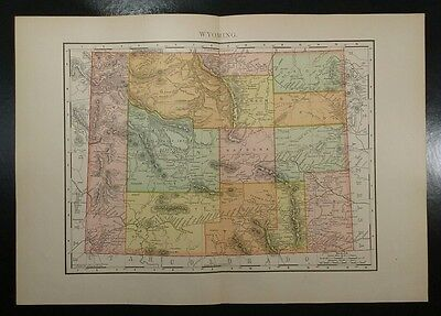 1895~WYOMING~Antique COLOR Map~Rand McNally~11x14~Old Authentic & Original