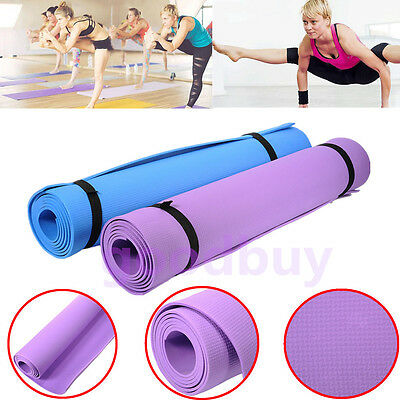 EXTRA THICK 4mm Non-Slip Yoga Mat Exercise Fitness Pilates Gym Mat 176cm x 60cm