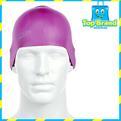 Speedo Plain Moulded Silicone Swim Cap Purple, Silicon Swimming Cap, Swim Caps