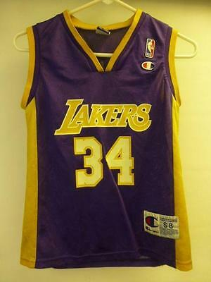 1917723da Yth Small Champion  34 Los Angeles Lakers SHAQ ONEAL basketball Jersey  Shaquille