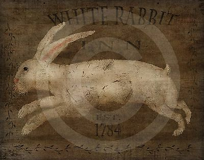 Primitive Colonial Folk Art - White Rabbit Inn Hare Easter Bunny PRINT ONLY 8x10