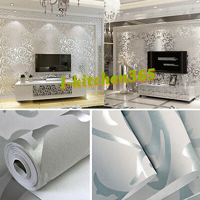 Damask 10M 3D Wall Paper Grey Silver Textured Wallpaper Background Living Room