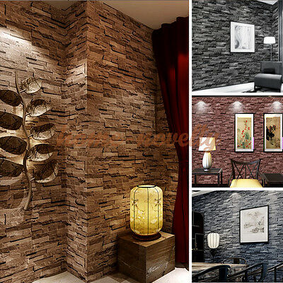 Countryside Textured 10M 3D Brick Stone Wall Paper Kitchen Living Bedroom Rolls