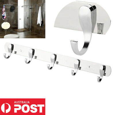 5 Hooks Wall Mount Hook Hanger Chrome Plated Steel Coat Robe Clothes Towel