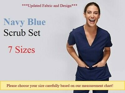 Navy Blue Ladies Nurse Scrub Set Uniform Cotton-Poly Half Sleeve 4 Pocket 7 size