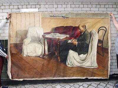 Soviet VERY VERY BIG Portrait, painting,oil on canvas - Vladimir Lenin in Smolny