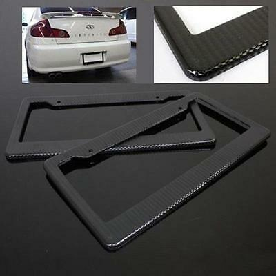 2x Universal Black #S Carbon Fiber Printed Style Front/ Rear License Plate Frame