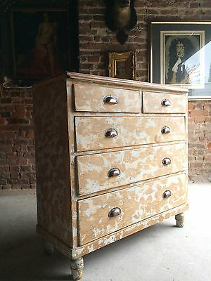 Fabulous Antique Chest of Drawers Dresser Pine Victorian Chippy Distressed