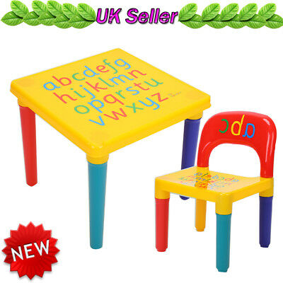 Light-weight Alphabet Printed Children Plastic Table and Chair Set Kids Toddlers