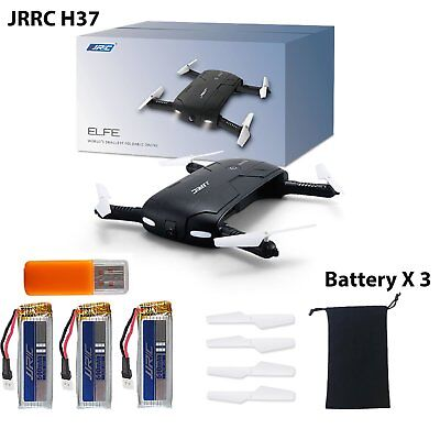 Foldable H37 6-Axis ELFIE Quadcopter WIFI 720P FPV 3 Battery Camera Drone JJRC
