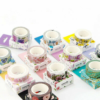 DIY Floral Washi Sticker Decor Roll Paper Masking Adhesive Tape Crafts  HOT