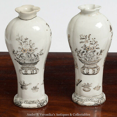 c. 1800's HAND PAINTED Unmarked STAFFORDSHIRE Pair Bud Vases Antique Victorian