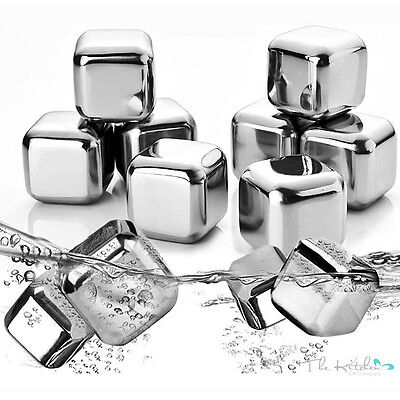 10 Stainless Steel Whisky Stones Reusable Ice Cubes Drink Chillers Cooling Rocks