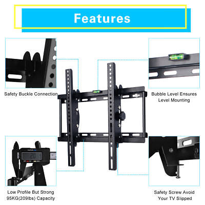Tilt TV Wall Bracket Mount 32 37 40 42 46 48 50 55 60 65 70 Plasma LCD LED Flat
