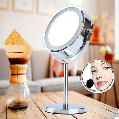 360° Round LED Chrome Magnifying Make Up Cosmetic Vanity Mirror Double Sided UK