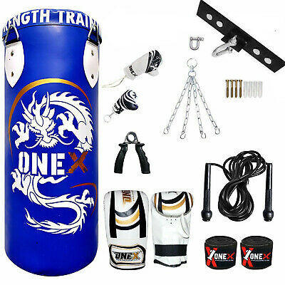 Kids Boxing Punch Bag Set 3Ft Filled Heavy Punch Bag Gloves,Chain,Bracket MMA