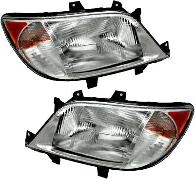 Headlights Headlight Assembly w//Bulb NEW Pair Set for 03-04 Mitsubishi Outlander
