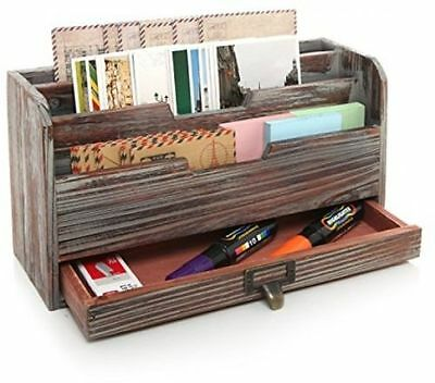 3 Tier Country Rustic Brown Wood Office Desk File Organizer Mail Sorter Tray New
