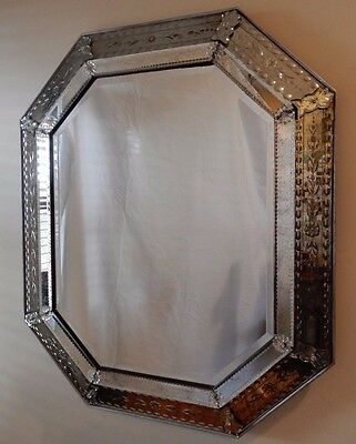 BEAUTIFUL Antique Octagonal Venetian Glass Mirror w Etching/Rosettes 36""