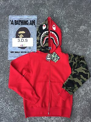 941c5267682c BAPE RED GREEN CAMO Shark Full-Zip Hoodie  Size L  100% AUTHENTIC ...