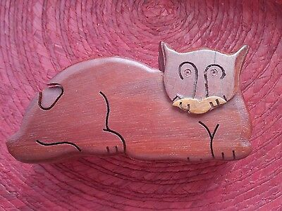 Wooden Cat Stash Box, Puzzle Box, Trinket Box Hand Carved